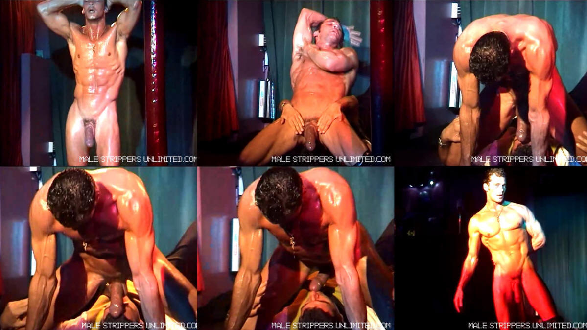 2 male dancers strip woman on stage 3